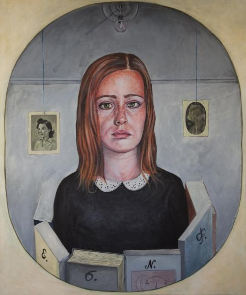 The Woman who read poetry,acrylics on canvas. 50x60 cm, 2012