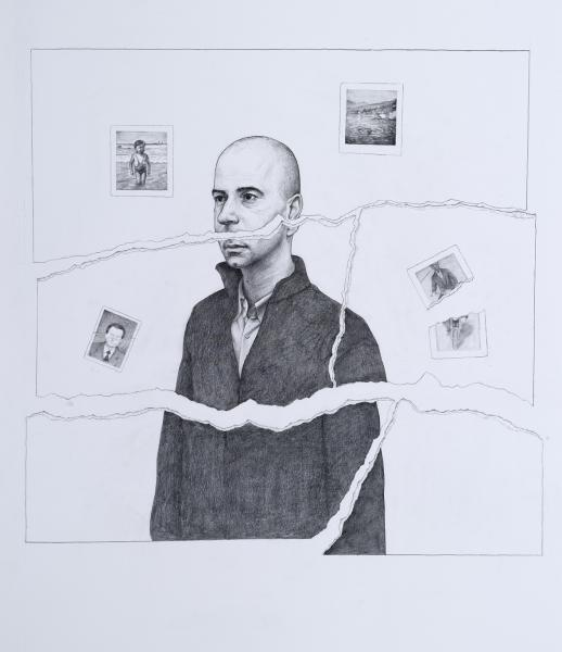 Composing my brother's portrait, pencil on paper, 72x63,5 cm