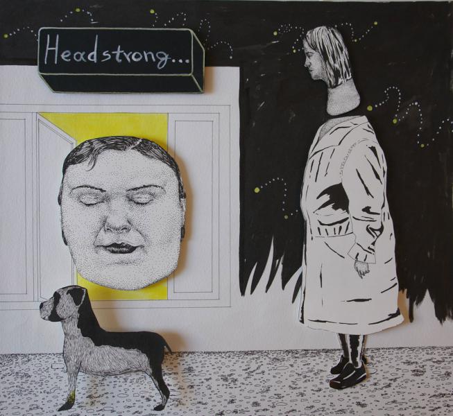 Headstrong, collage of drawings on paper, 37x41 cm, 2011