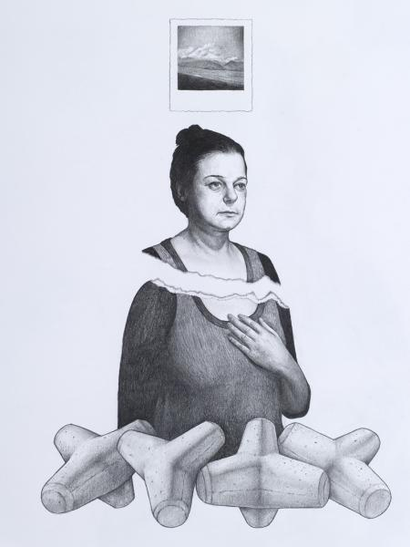 Regarding a memory, pencil on paper,52x37cm