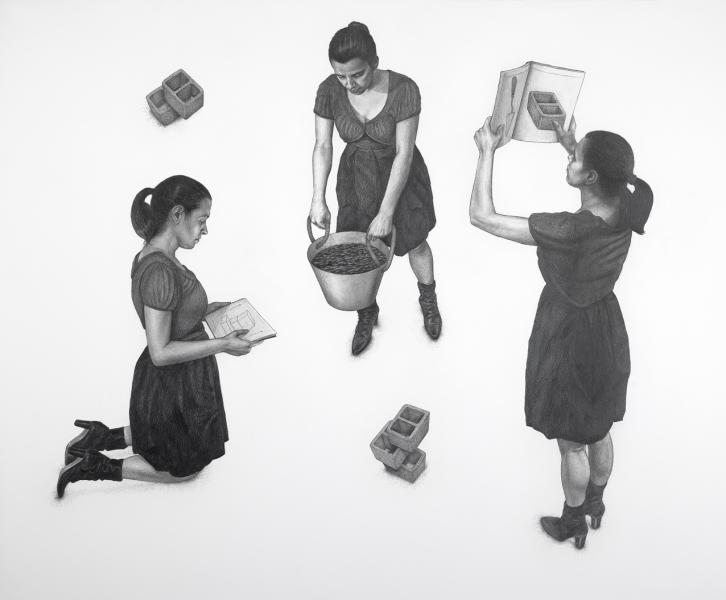 Three solutions,pencils on paper, 112x117cm